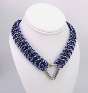 Blue, Lavender and Stainless Steel Chainmaille Necklace Collar with Triangle Center Ring (BDSM submissive)