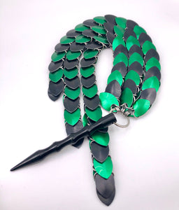 Black and Green BDSM Chainmaille Scale Flogger (kinky, BDSM impact play)