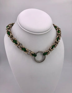 Green, Gold, and Stainless Steel O-Ring Chainmaille Necklace Collar (BDSM submissive)
