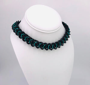 Black, Teal and Stainless Steel Elfweave BDSM Collar (submissive, day collar)
