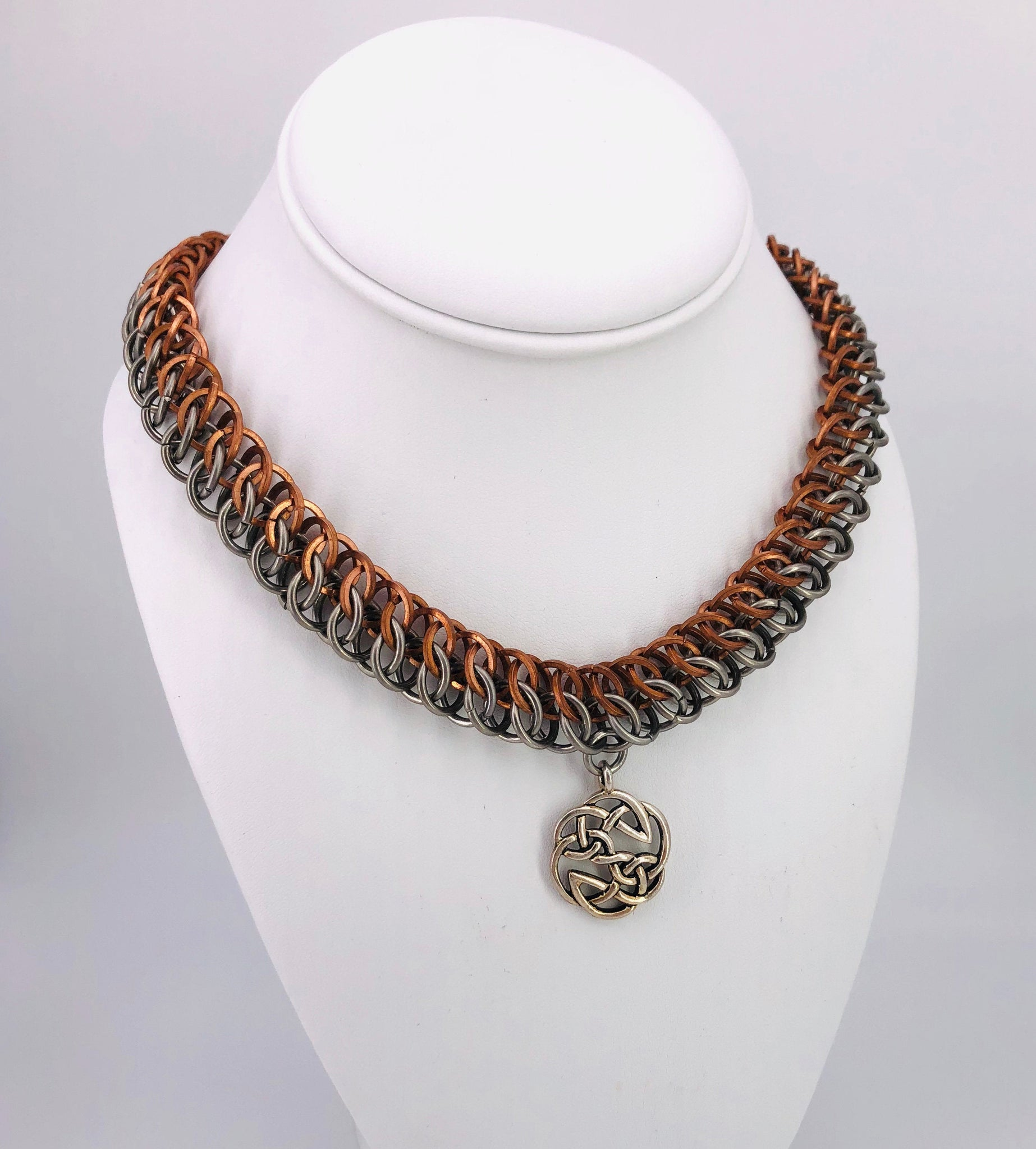 Copper and Stainless Steel Chainmaille Statement Necklace with Celtic Center Pendant