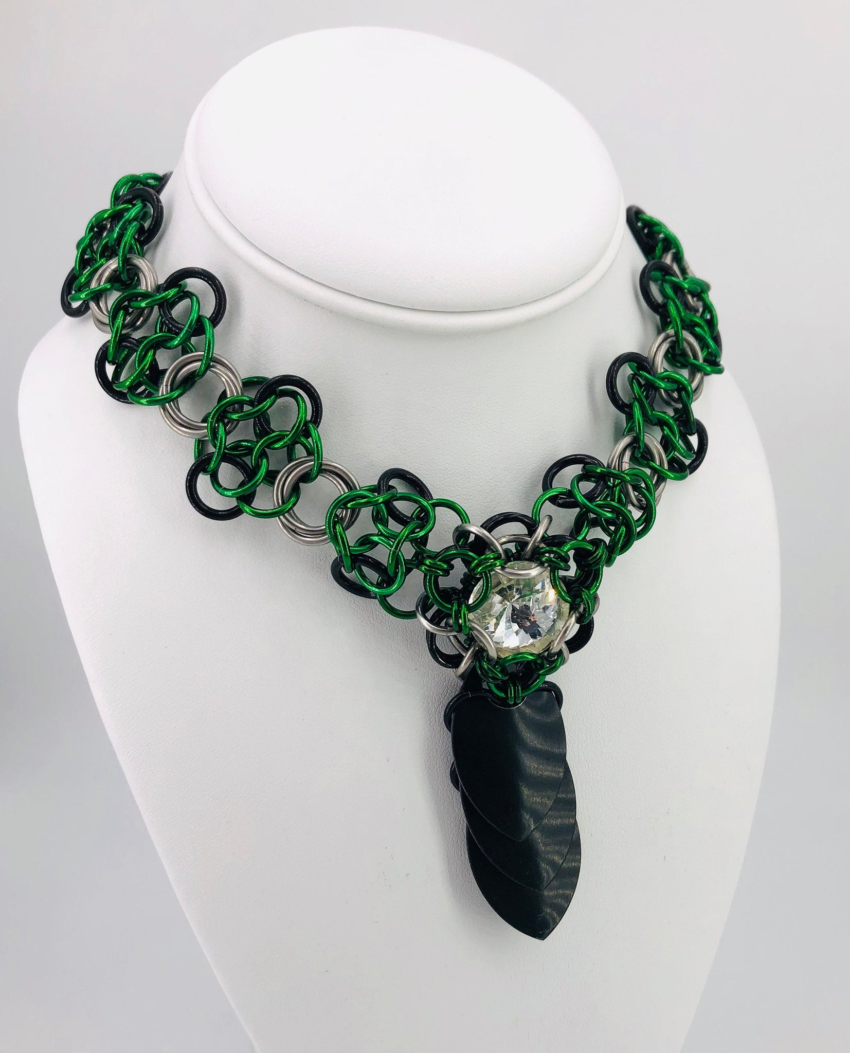 Green and Black Statement Collar Necklace with Jewel Centerpiece
