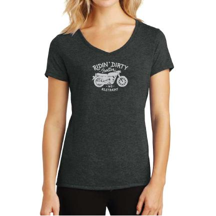 Voya ladies Ridin' Dirty motorcycle tshirt graphic tee charcoal gray