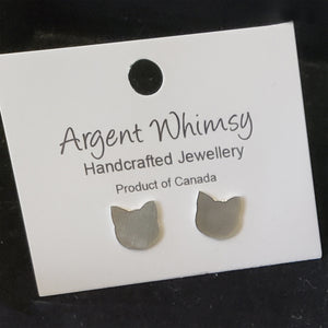 Earrings silver cat studs