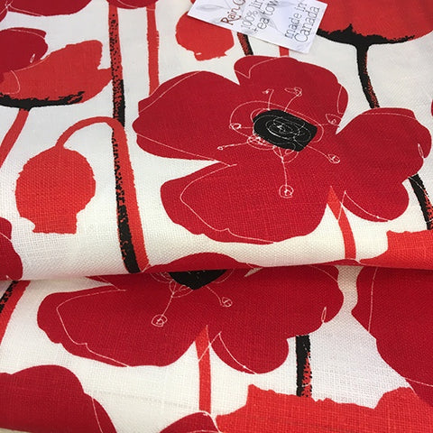 Linen Tea Towel Poppy Red