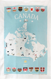 Cotton Tea Towel Canada Map
