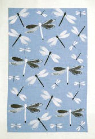 Linen Tea Towel New Dragonfly blue