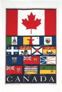 Cotton Tea Towel Flags of Canada