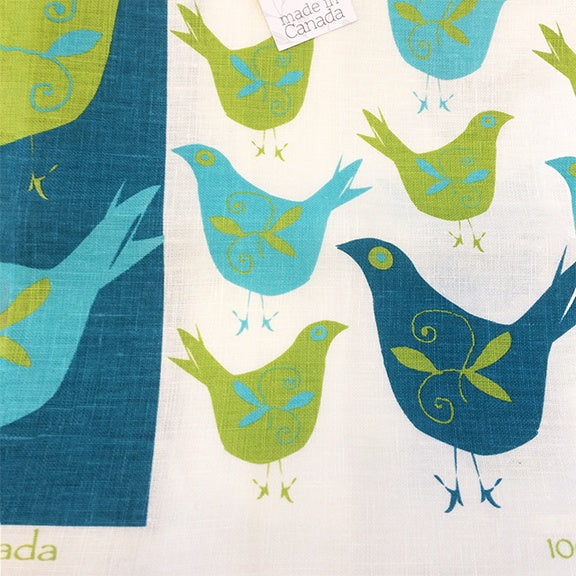 Linen Tea towel Swedish Bird