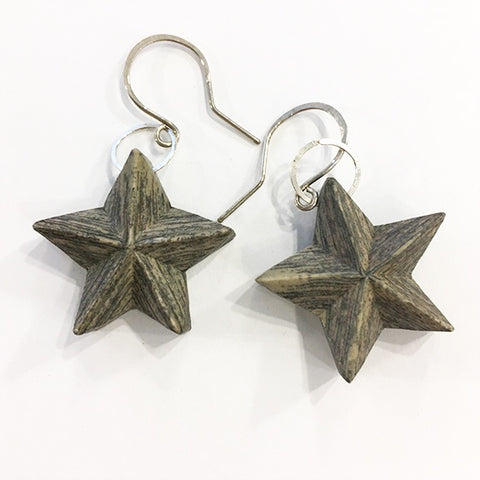Layered newspaper earrings Stars