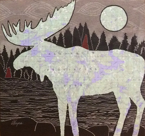 Art Card, Algonquin Moose - standing