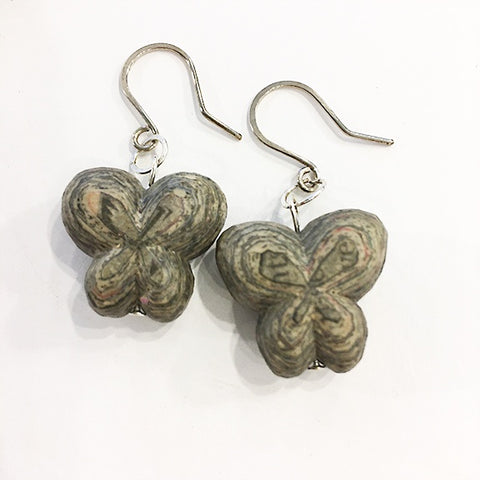 Carved newspaper earrings Butterflies