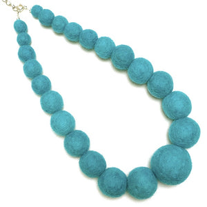 Teal felted ball necklace