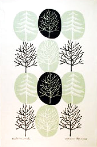 Linen Tea towel Sage Tree