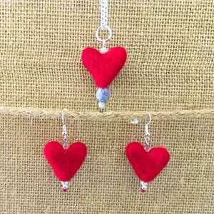 Felted necklace small red heart