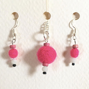 Felted earrings pink with black and white beads