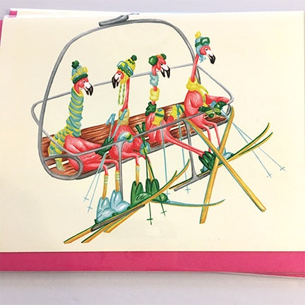 Flamingos on a Ski Lift card