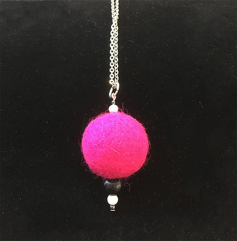 Felted necklace large ball and beads