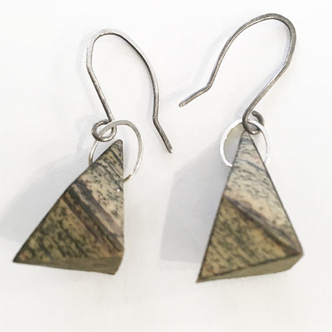 Carved Newsprint Earrings Triangular shape