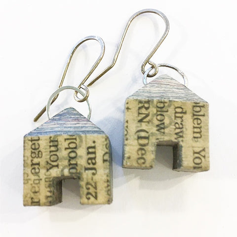 Layered newspaper earrings Houses