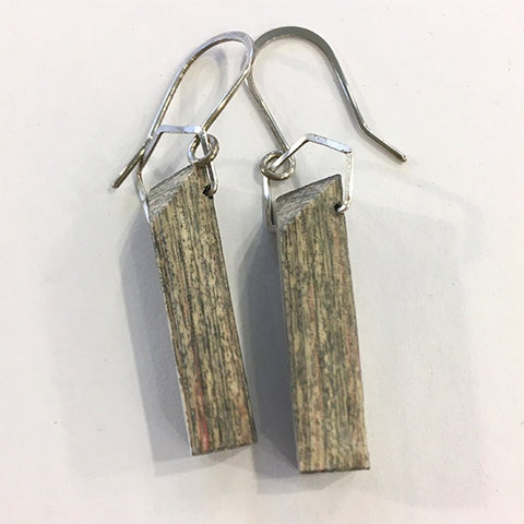 Carved Newsprint Earrings Square Post