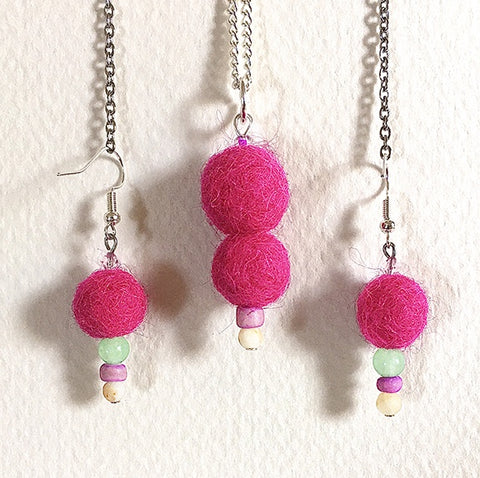 Felted necklace 2 magenta balls and beads
