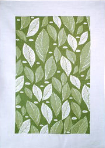 Linen Tea Towel green leaves