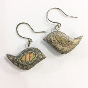 Carved newspaper earrings Birds