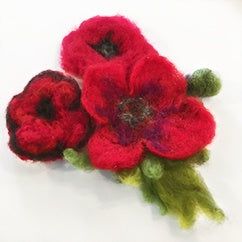 Felted poppy pin large