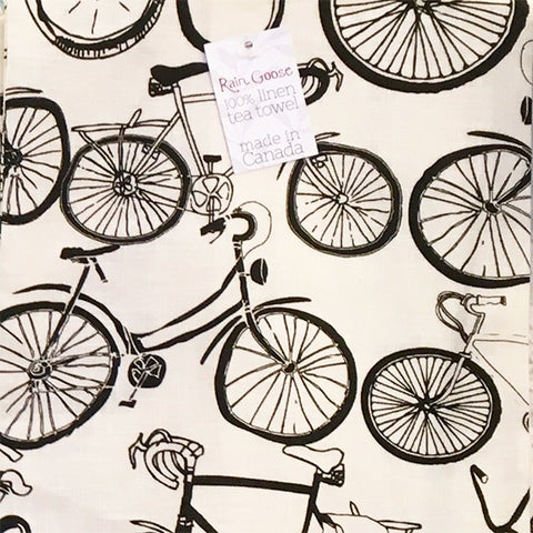 Linen Tea Towel Bike Black