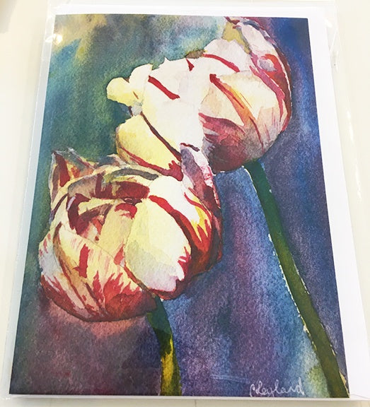 Art Card Red and White tulips