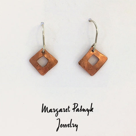 Earrings Copper square with cutout