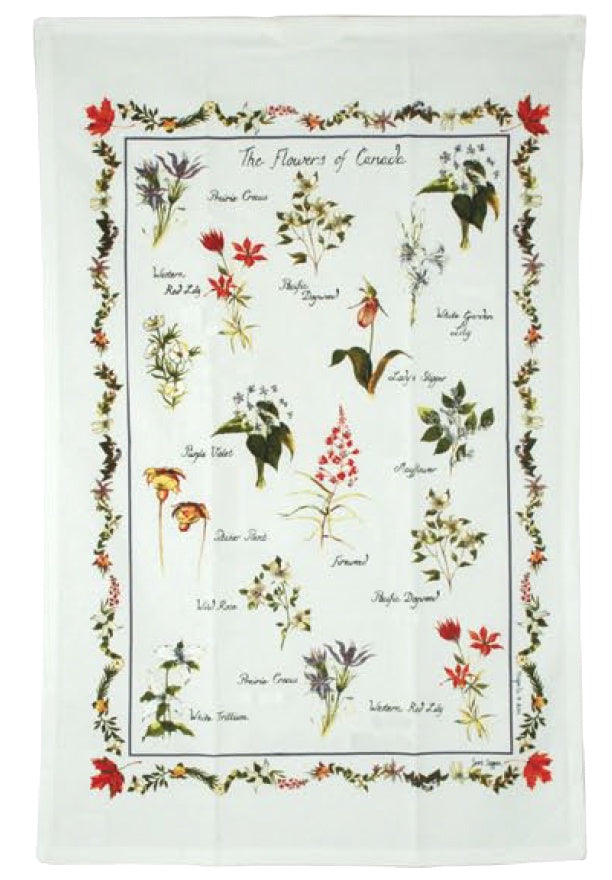 Cotton Tea towel Canadian Wildflowers