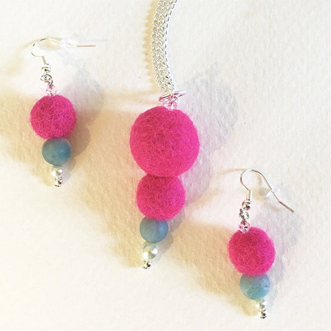 Felted earring magenta balls & blue bead