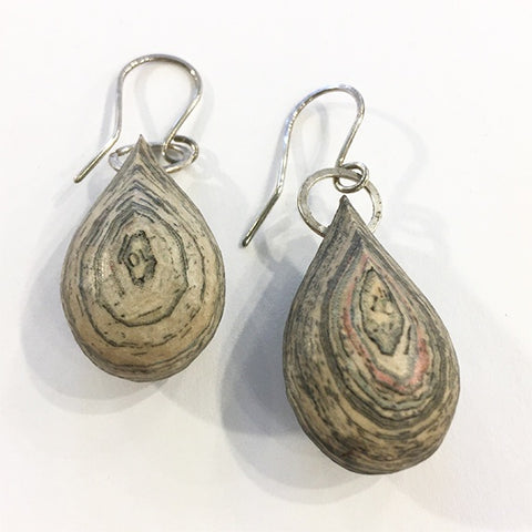 Layered newspaper earrings Teardrop