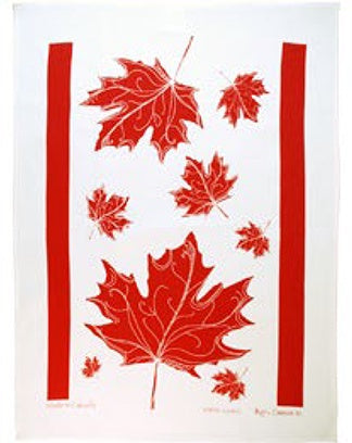 Linen Tea Towel Maple Leaves
