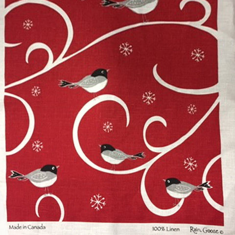 Linen Tea Towel Chickadee