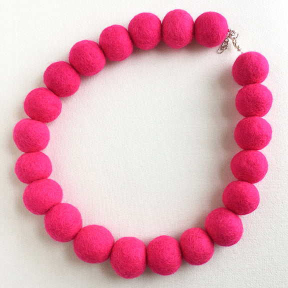 Magenta felted ball necklace