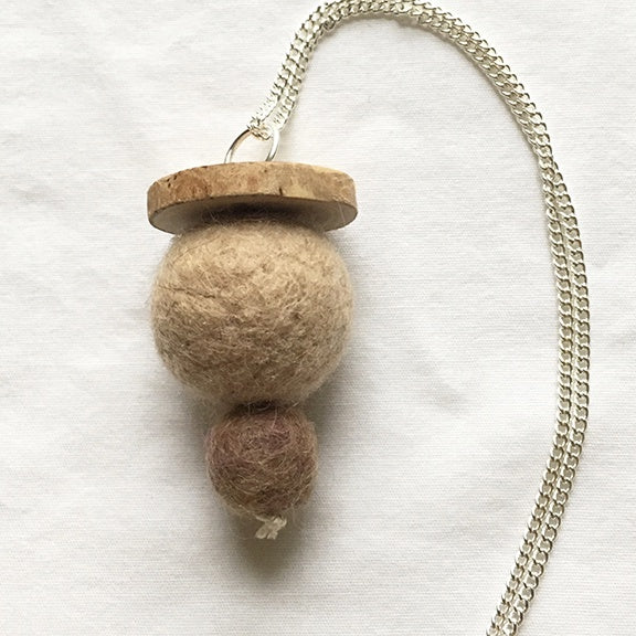 Necklace felted balls wood button