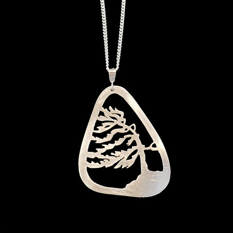 Necklace teardrop frame windswept tree