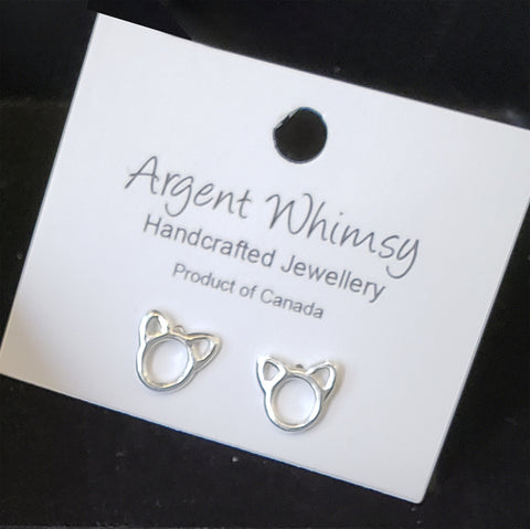 Earrings silver cat frame studs