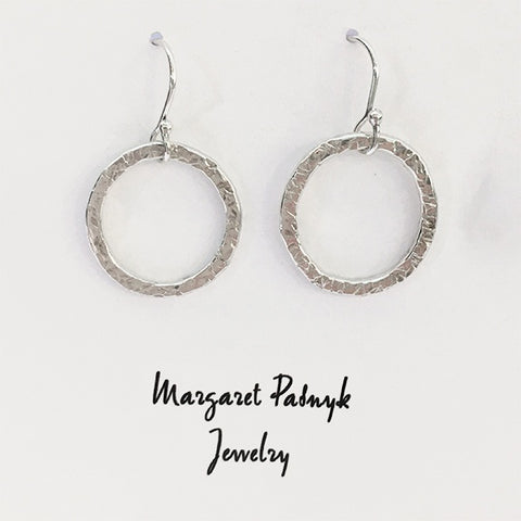 Earrings hammered circles
