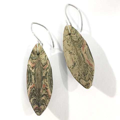 Layered newspaper earrings Canoe