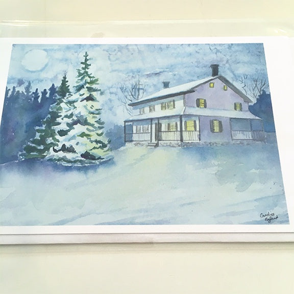 Farm House in Winter Card
