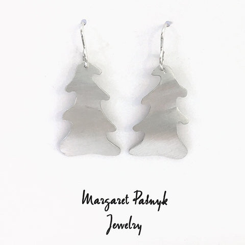 Earrings silver xmas trees