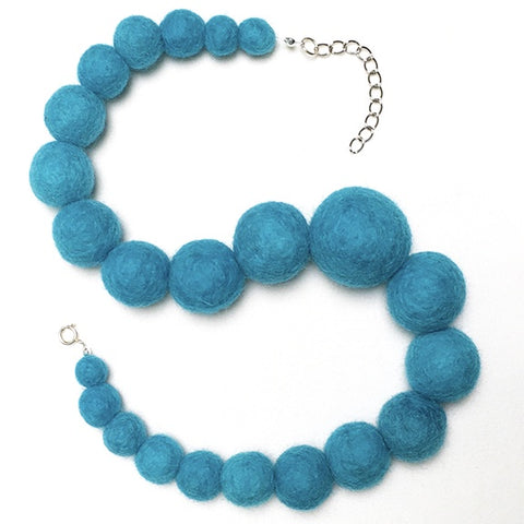 Blue felted ball necklace