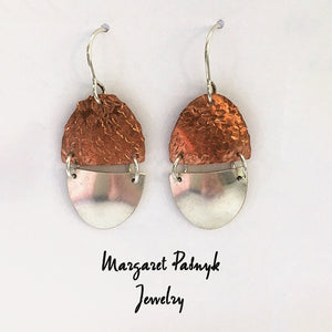 Earrings Copper and silver ovals
