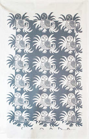 Cotton Tea Towel Tundra Owl - Grey