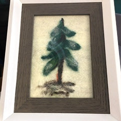 Felted Art Tree w Snow framed