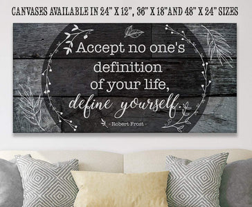 "Accept No One's Definition - Large Canvas (Not Printed on Wood) - Stretched on Wood - Wedding Gift Wall Hangings Lone Star Art 12""x24"" Stretched"